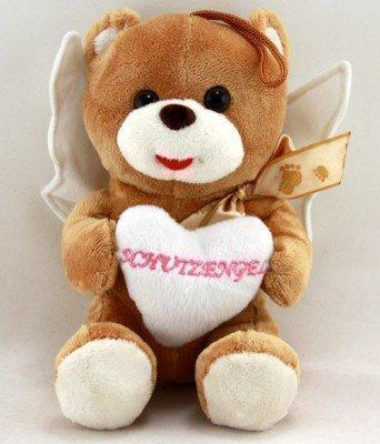 Bär Plüsch sitzend mit Herz 'Schutzengel' und