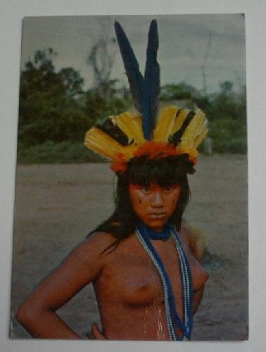 antigua-postal-old-post-card-brasil-nativo-joven-india-suia-vestida-para-la-ceremonia-de-yamaricuma-