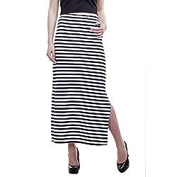 Peptrends Women's Regular Fit Skirt (SK15240NV, Blue and White, L)