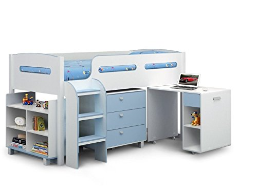 Modern Blue Cabin Bed - Comes In An Appealing White And Sky Blue Finish - The Perfect Place For Your Child To Sleep - Boys