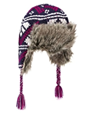 Faux Fur Fair Isle Trapper Hat