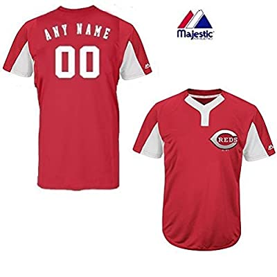 2-Button Cool-Base Cincinnati Reds 2-Color Red/White Blank or CUSTOM Back (Name/#) MLB Officially Licensed Baseball Placket Jersey
