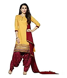 Adorn Mania Yellow Chanderi Embroidered salwar Suits Dress Material