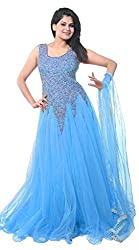 Be With Me Women's Net Gown Dress Material (Sky Blue Net Gown _Sky Blue_)