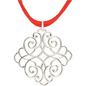 IceCarats Designer Jewelry Sterling Silver Sterling Silver 1/10 Ctw Diamond Red Cord 16-18 Necklace