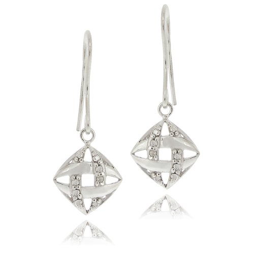 Sterling Silver Diamond Accent Woven Dangle Earrings