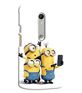 Blue Throat Three Minion Taking Selfie Printed Designer Back Cover For Moto X Style