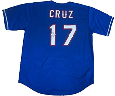 Nelson Cruz Autographed Texas Rangers Blue Jersey W/PROOF, Picture of Nelson Signing For Us, Texas Rangers, 2010 World Series, 2011 World Series, Milwaukee Brewers, Dominican Republic, 2013 World Baseball Classic