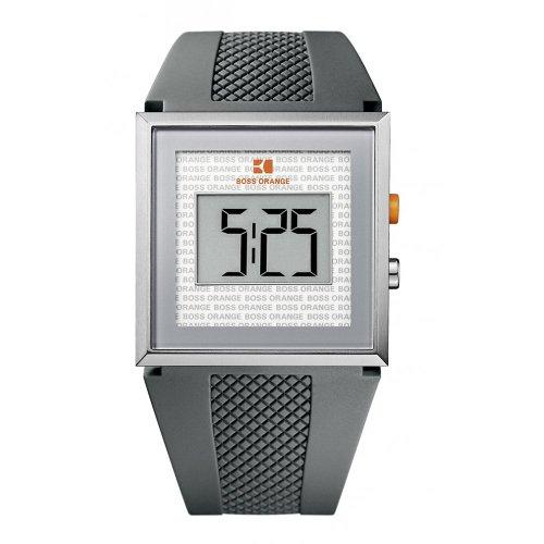 BOSS ORANGE Grey Rubber LCD Mens Watch 1512699