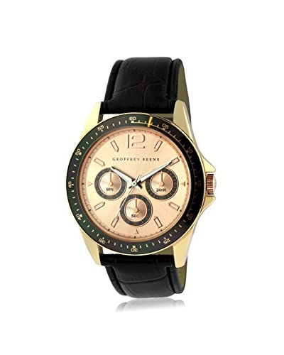 Geoffrey Beene Men's GB8067RGBK Black/Rose Gold-Tone Leather Watch