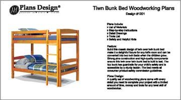Classic Twin Bunk Bed Furniture Woodworking Plans - Design #11201