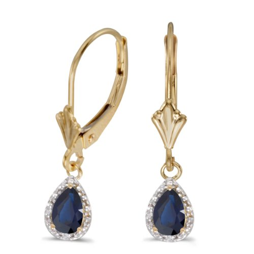 14k-Yellow-Gold-Pear-Sapphire-And-Diamond-Leverback-Earrings