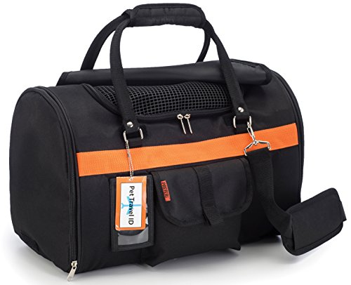 Pet Travel Carrier with Privacy Covers – Soft-Sided, Airline Approved, Perfect for Small Dogs and Cats (Medium, Black Orange)