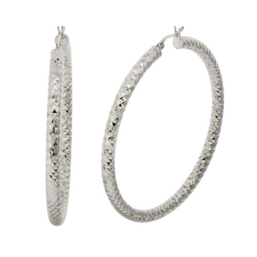 Sterling Silver Double Diamond-Cut Hoop Earrings (2.2