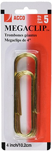 Acco Mega Clip Paper Clips, Gold, 5 Count (A7072536) (Extra Large Paper compare prices)