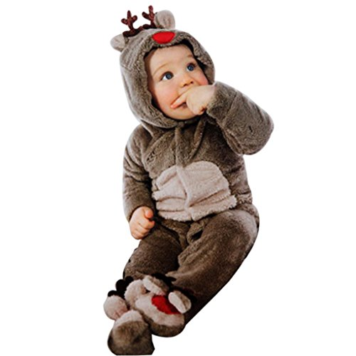 Fheaven Newborn Baby Clothes Girl Boy Deer Romper Winter Warm Outwear Outfits (0-2 years old) (L, Coffee)