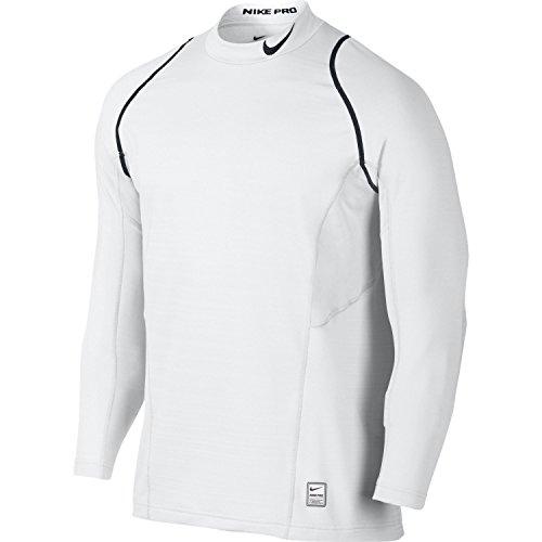 Nike Men's Dri Fit Pro Hyperwarm Lite Fitted Mock Long Sleeve Shirt, (White/Black, Medium)