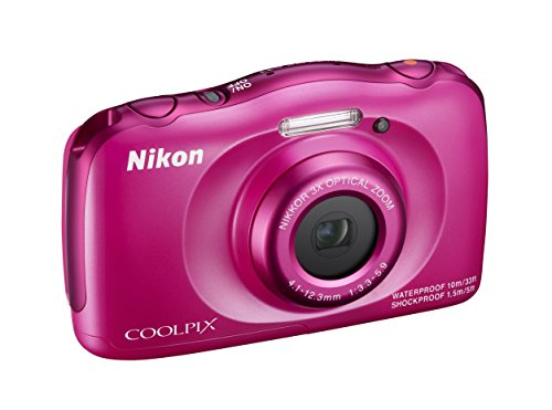 "Nikon Coolpix S33 Fotocamera Digitale Compatta, 13,2 Megapixel, Zoom 3X, 3200 ISO, LCD 3"", Full HD, Rosa [Nital Card: 4 Anni di Garanzia]"