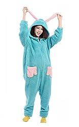 VU ROUL Women's Unisex Onesies Animal Cosplay Nightwear Fleece Rabbit Pyjamas Adult Costumes