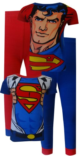 Clark Kent Transforms Into Superman 4 Piece Cotton Pajamas For Boys (6) back-787180