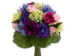 """11.5"""" Rose/Lisianthus Bouquet Blue Purple (Pack of 6)"""