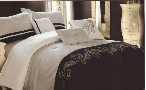 7 Pieces Comforter Embroidey King Bedding Shams Black Cream Beige Luxury New front-890743