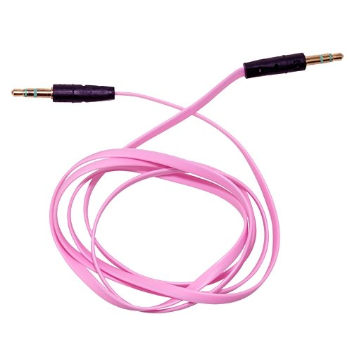 3FT 3.5mm Male M/M Stereo Plug Jack Audio Flat Extension Cable For Phone PC MP3 Pink **Laptop Parts Store**