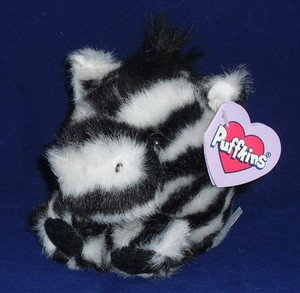 Puffkins Bean bag, NWT - Zack - Zebra