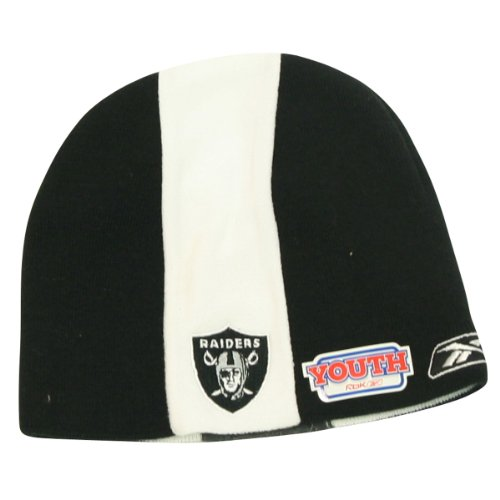 Cheap Oakland Raiders Youth Size Center Stripe Winter Knit Beanie Hat - Black