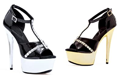 Women's 6 Inch Stiletto Closed Heel Platform T-Strap Sandal With Rhinestone Accents (Black/Gold;7)