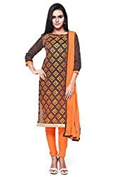 Kanchnar Women's Brown and Orange Chanderi Cotton Embroidered Casual Wear Dress Material,Navratri Festival Clothing Diwali Gift,Great Indian Sale