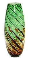 Stylish Hand-Blown 13.5 VASE 235-43  Green-Brown