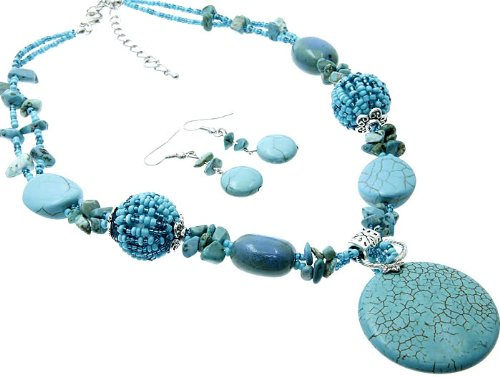 NECKLACE AND EARRING SET BEAD LUCITE BEAD TURQUOISE Fashion Jewelry Costume Jewelry fashion accessory Beautiful Charms