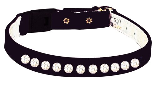 Pet Supply Imports - Black Velveteen Jeweled Break Away Cat Collars Siz 14