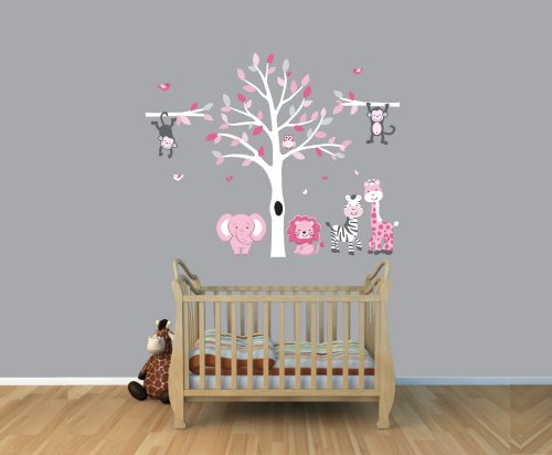 Mini Expedition Jungle Wall Art In Pink & Gray With Tree Wall Decal
