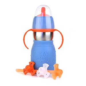 The Safe Sippy 2 2-in-1 Sippy to Straw Bottle, Blue