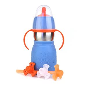 Kid Basix Safe Sippy Cup 2, The Stainless Steel 2-in-1 Sippy Cup and Straw Bottle, Blue, 11oz