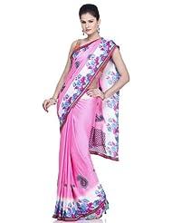 Chhabra555 Pink Art Chiffon Printed Embroidery Saree