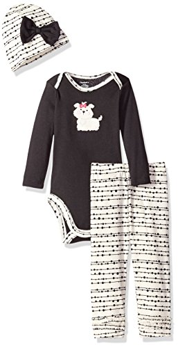 Gerber Girls' 3 Piece Bodysuit, Puppy, 6-9 Months