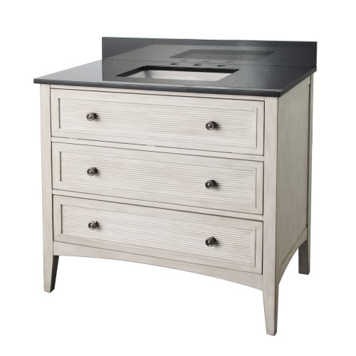 Foremost BYWVT3721 Bernay Bathroom Vanity with Black Granite Top, Antique White