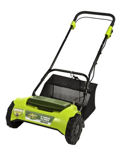 Sun Joe MJ420C Mow Joe 16-Inch 24 Volt Cordless Electric Reel Lawn Mower With Grass Catcher