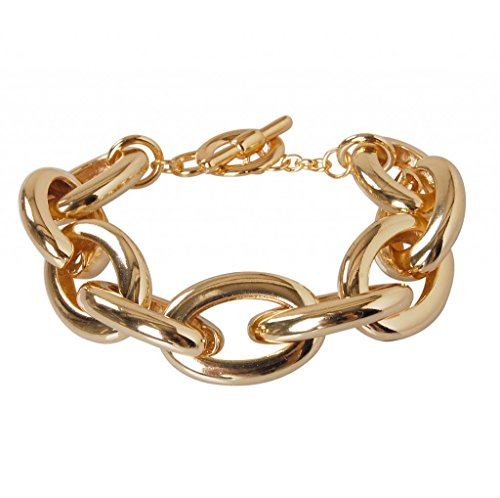 Humble Chic Women'S Gold Chainlink Bracelet - Goldtone Chain Cuff Gold