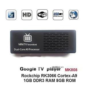 Kagu Mini Computer,1080P Dual-core Android 4.1 TV Box MK808 Mini PC RK3066 1GB DRR3+8GB Nand Flash Black