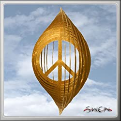 PEACE SIGN CIRCLE Swirly Metal Wind Spinner