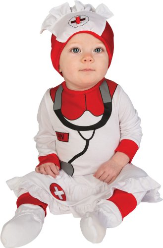 Rubie'S Costume Baby'S First Halloween Nurse Printed Jumper With Attached Skirt Hat And Booties, White, 6-12 Months front-508490