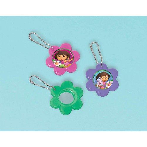 """Amscan Colorful Dora's Flower Adventure Flower Mirror Keychain (12 Piece), Pink/Purple/Green, 2 1/2 x 2 1/2"""""""