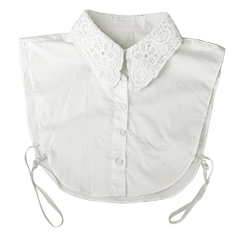 Women's Floral Neckline Detachable Collar Half Shirt Blouse 5-Button (White)