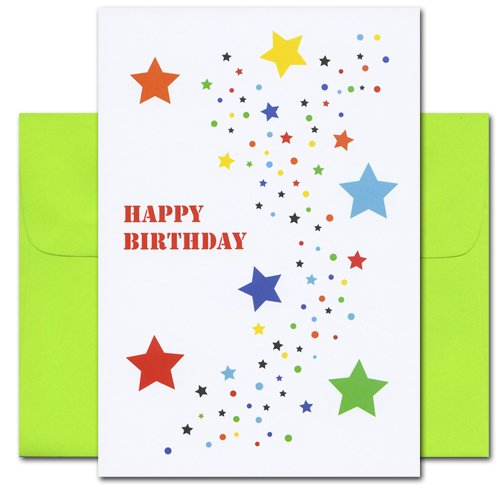 Birthday Cards - Stars, box of 10 cards & envelopes