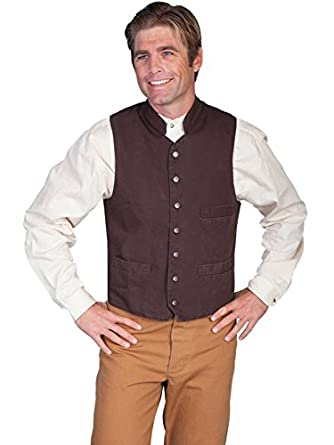 Men's Vintage Inspired Vests Standup Round Collar Vest  AT vintagedancer.com