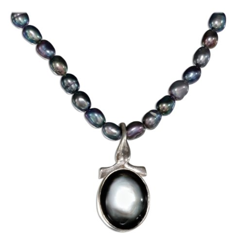 Sterling Silver 16 inch Oval Gray Shell and Gray Pearl Necklace.